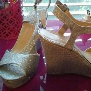 Beautiful silver sparkling wedges